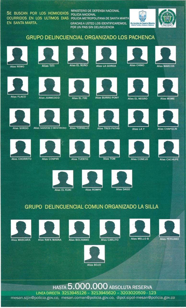 34 de los 67 alias que busca la Policía.