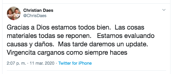 Mensaje de Christian Daes en Twitter.
