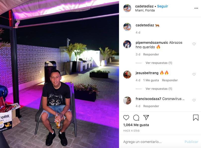 Última publicación en Instagram de Fredy Díaz.