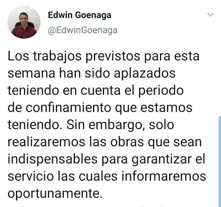 Anuncio del gerente de Electricaribe en el Magdalena, Edwin Goenaga.