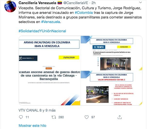 Fuentes de la Cancillería venezolana.