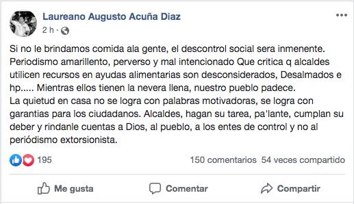 Publicación en Facebook.