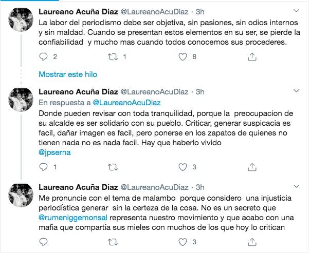 Trinos del senador Laureano Acuña.