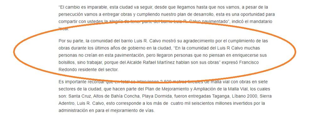 Ejemplos del líder político barrial, adepto a Fuerza Ciudadana, quien es utilizado para hablar bien de las políticas públicas.