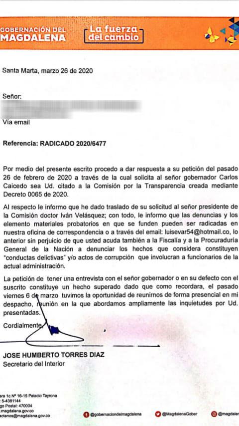 Respuesta de la Gobernación del Magdalena al denunciante.