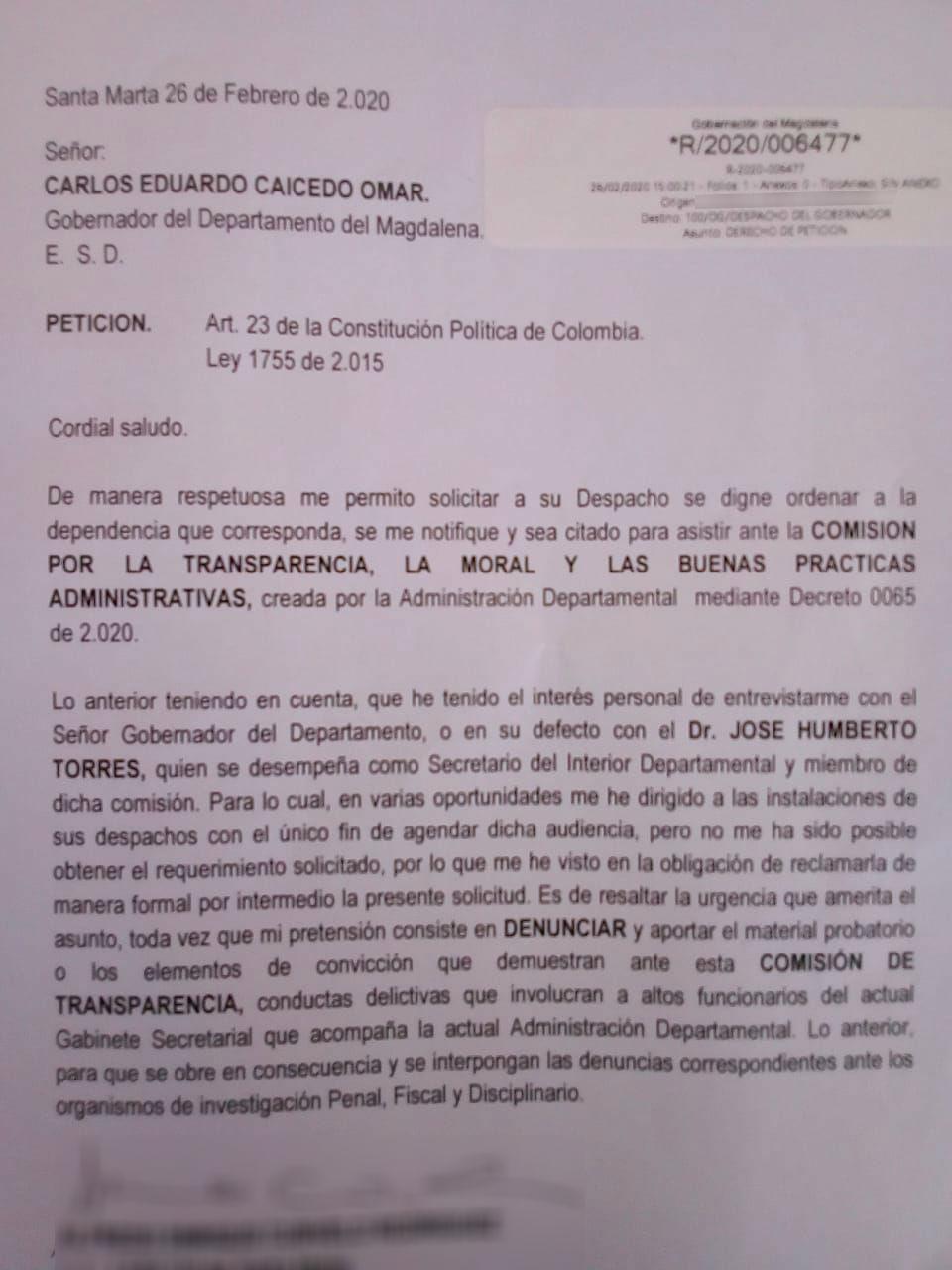 Radicado del denunciante a la Gobernación del Magdalena.