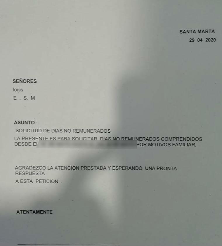 Carta que estarían haciendo firmar a trabajadores de la Clínica Bahía.