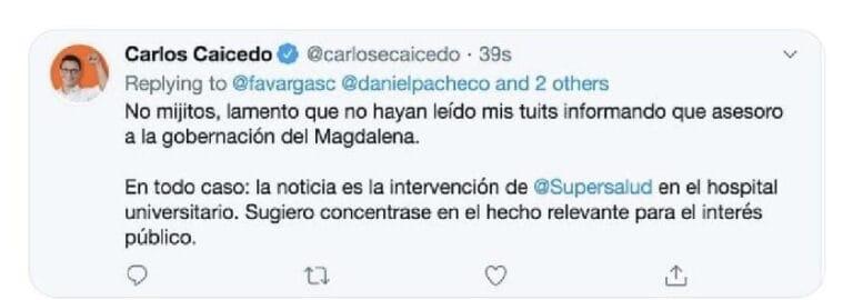 Este fue el mensaje que, por error, publicó Cathy Juvinao en la cuenta de @CarlosECaicedo