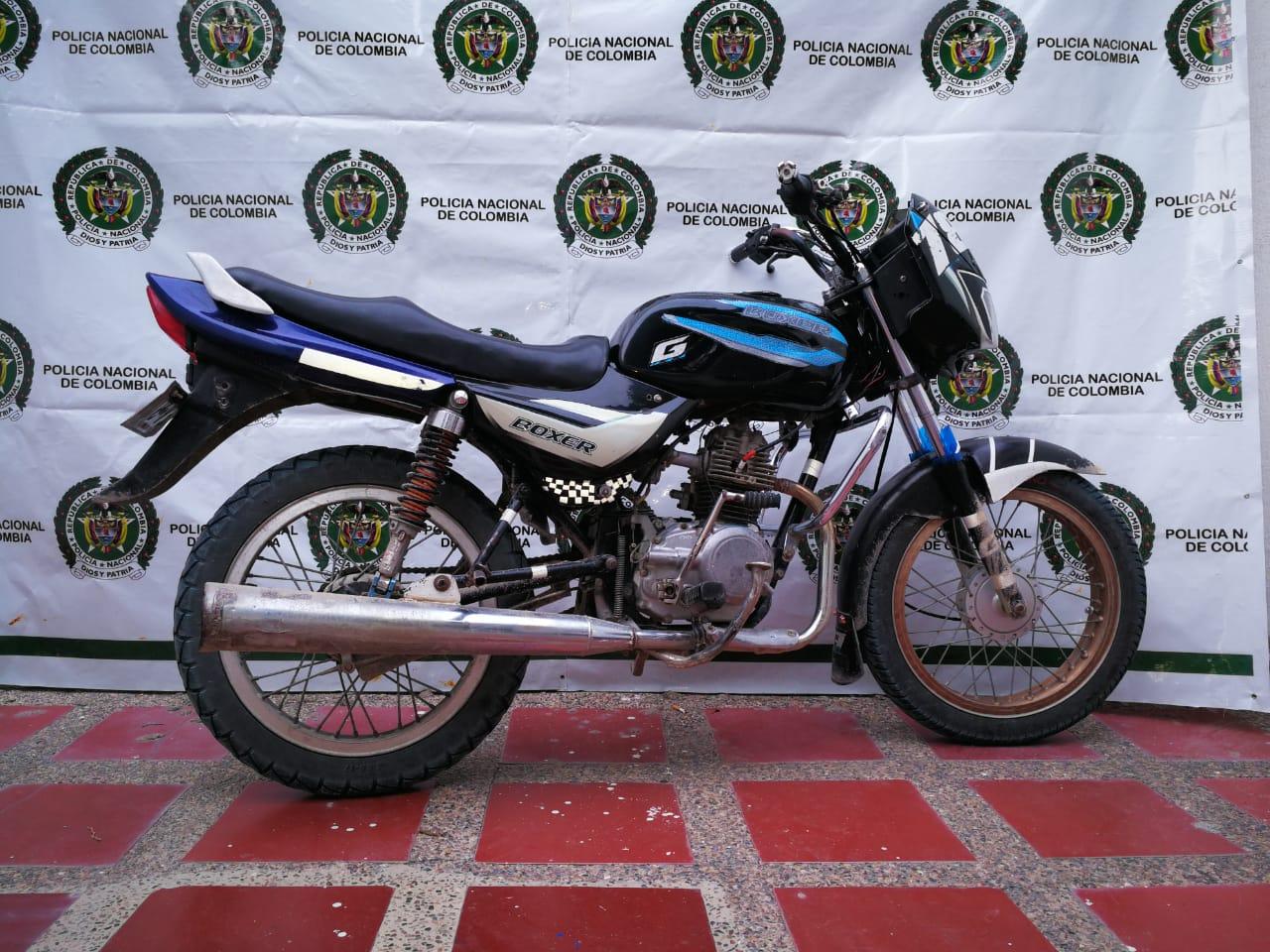 Moto recuperada en Fundación.