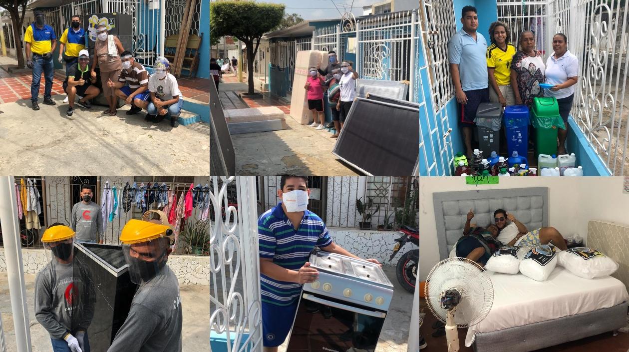 Electrodomésticos que fueron entregados en familias.