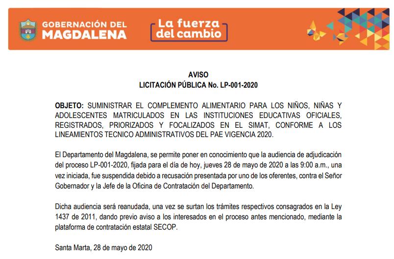 Acta de suspensión de la Gobernación del Magdalena.