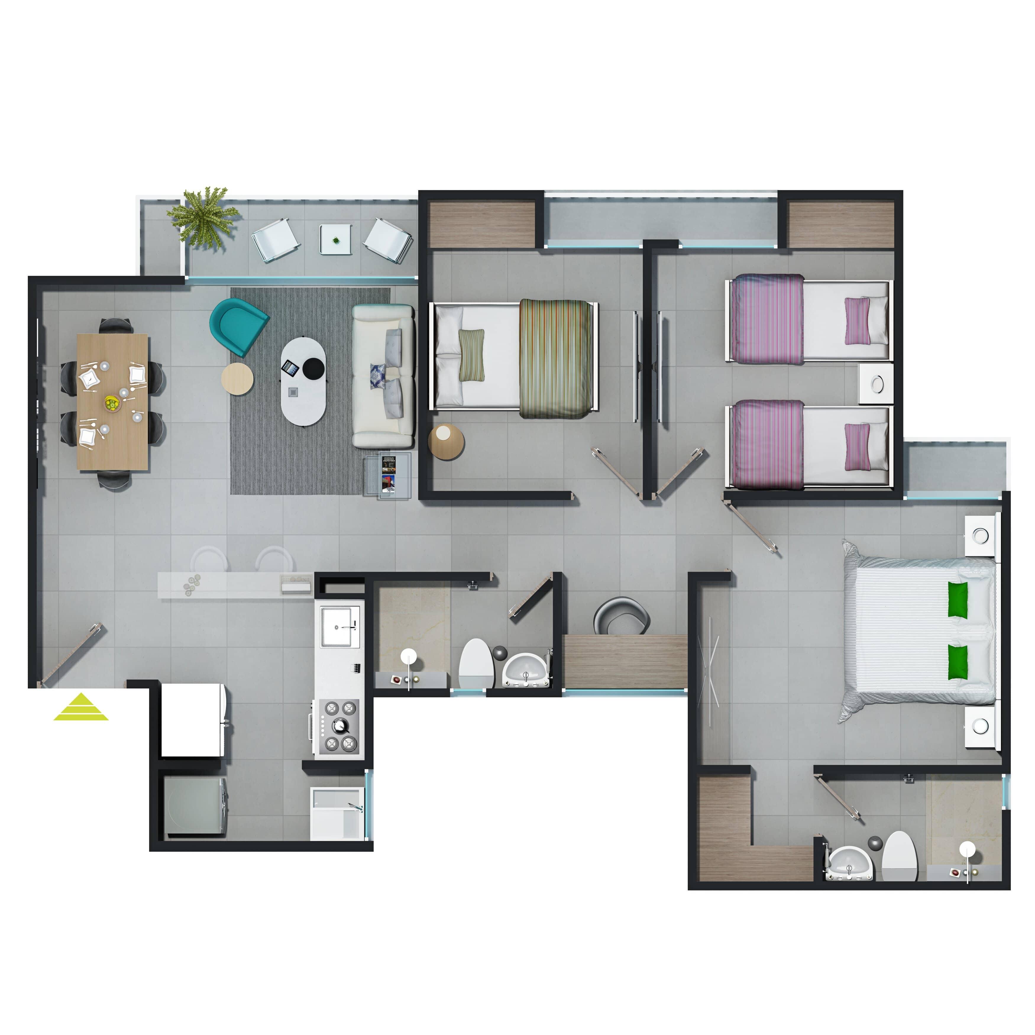 Plano de apartamento en Torres del Parque