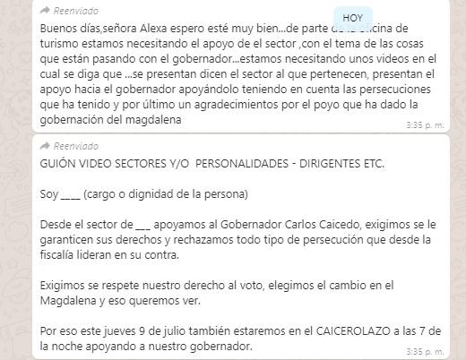 Este es el guion que recibieron los carperos para hacer videos de apoyo a Caicedo.