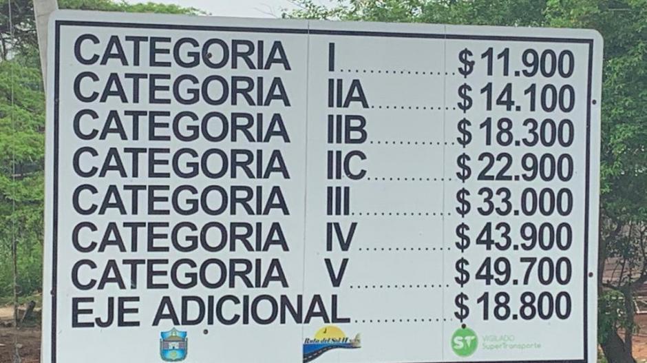 Tarifas del peaje de la vía Ciénaga-Barranquilla.