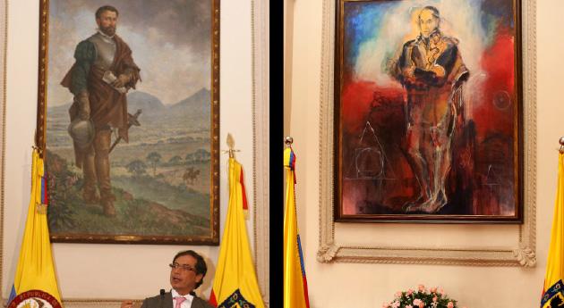 Cuando era alcalde de Bogotá, Gustavo Petro reemplazó un cuadro de Gonzalo Jiménez de Quesada, por el de Simón Bolívar. Luego fue desmontado en otra administración.