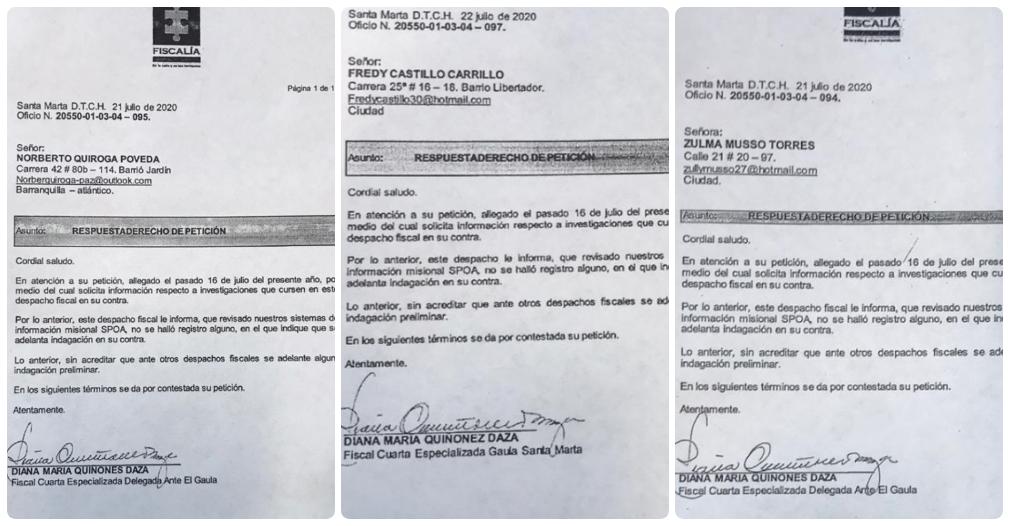 Con estos documentos, los ahora denunciantes ratifican no tener investigaciones en su contra.