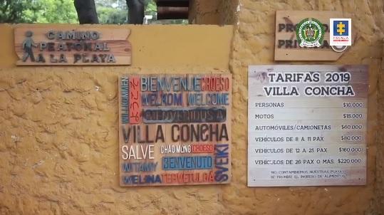 Tabla de precios que cobraban en el predio para acceder a Bahía Concha.