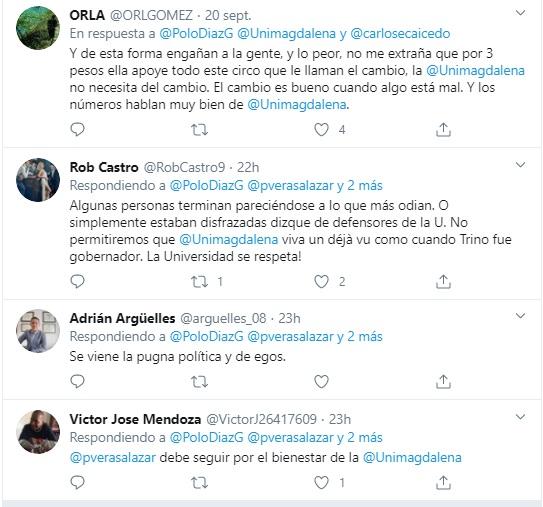 Algunas críticas en las redes sociales surgidas por el audio de la presidenta de la JAC.