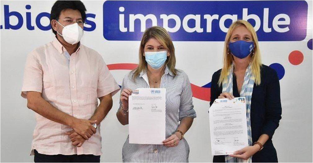 Firma del convenio entre la Acnur, la Gobernación y la Alcaldía.