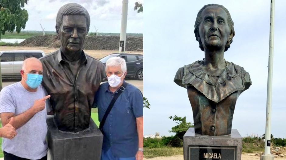 Christian Daes y Julio Comesaña con las estatuas del uruguayo y Micaela Lavalle