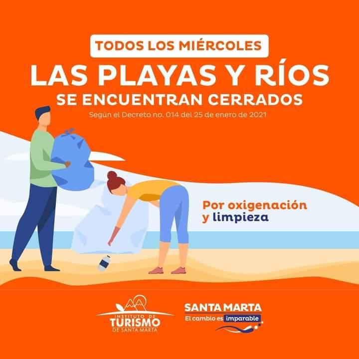 Información de la Alcaldía con relación a los cierres de playas y ríos.