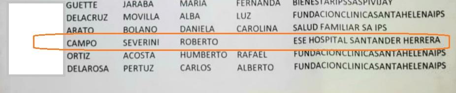 Roberto Campo Severini aparece en el listado de vacunación contra el covid-19.