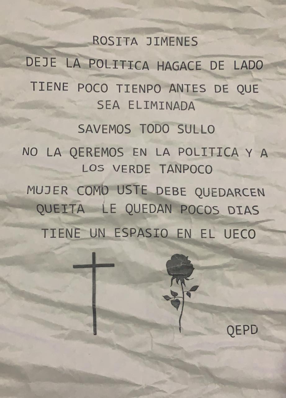 Este fue el panfleto que encontró Rosita Jiménez en la entrada de su casa.