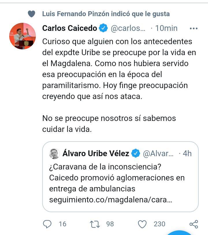 Tuit borrado por Carlos Caicedo.
