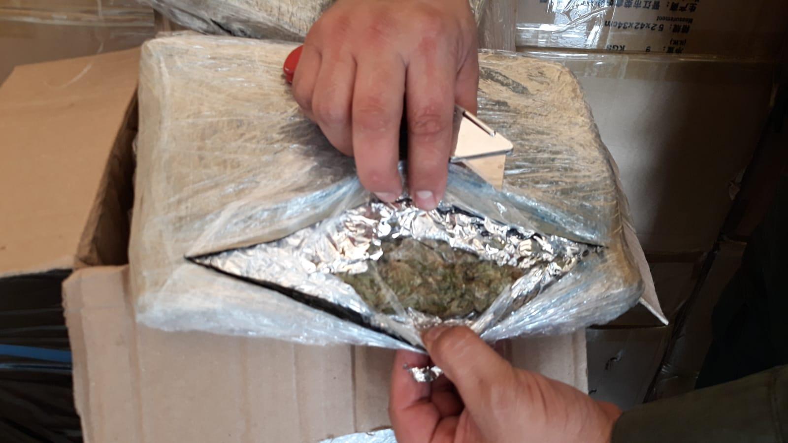 La marihuana iba camuflada como encomienda.