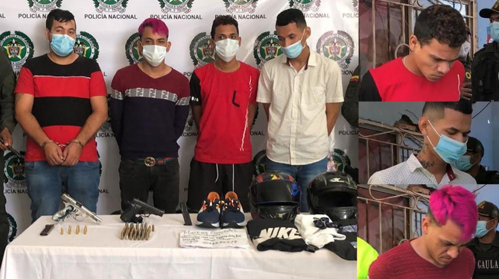 Cristian Corredor Sierra, Erick José Morales López, alias 'Peluquero'; Antoni Alejandro Polanco Castillo y José Gregorio Serrano Machado, alias 'Caracas', los cuatro capturados un día después del atentado (13 de enero de 2021), en el barrio San Roque de Barranquilla.