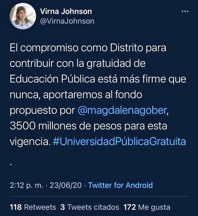 Tuit de Virna Johnson en el que se comprometió con la gratuidad de los estudiantes.