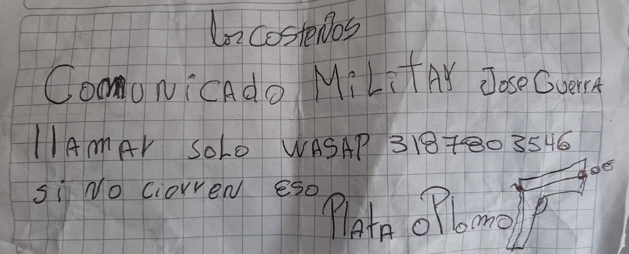 Uno de los panfletos que le encontraron a Orlay José Patiño Sarabia.