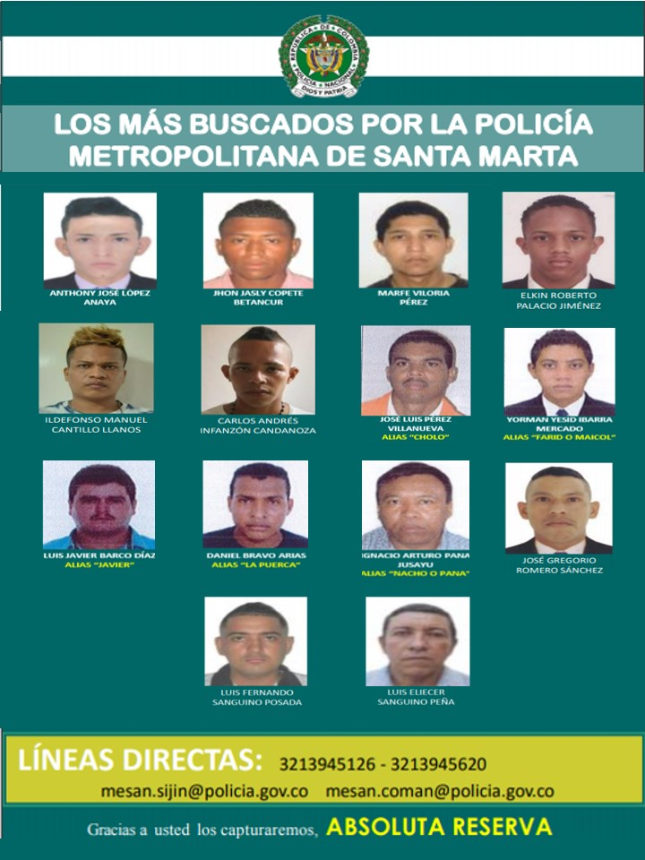 Fotografías de los más buscados por la Policía Metropolitana de Santa Marta