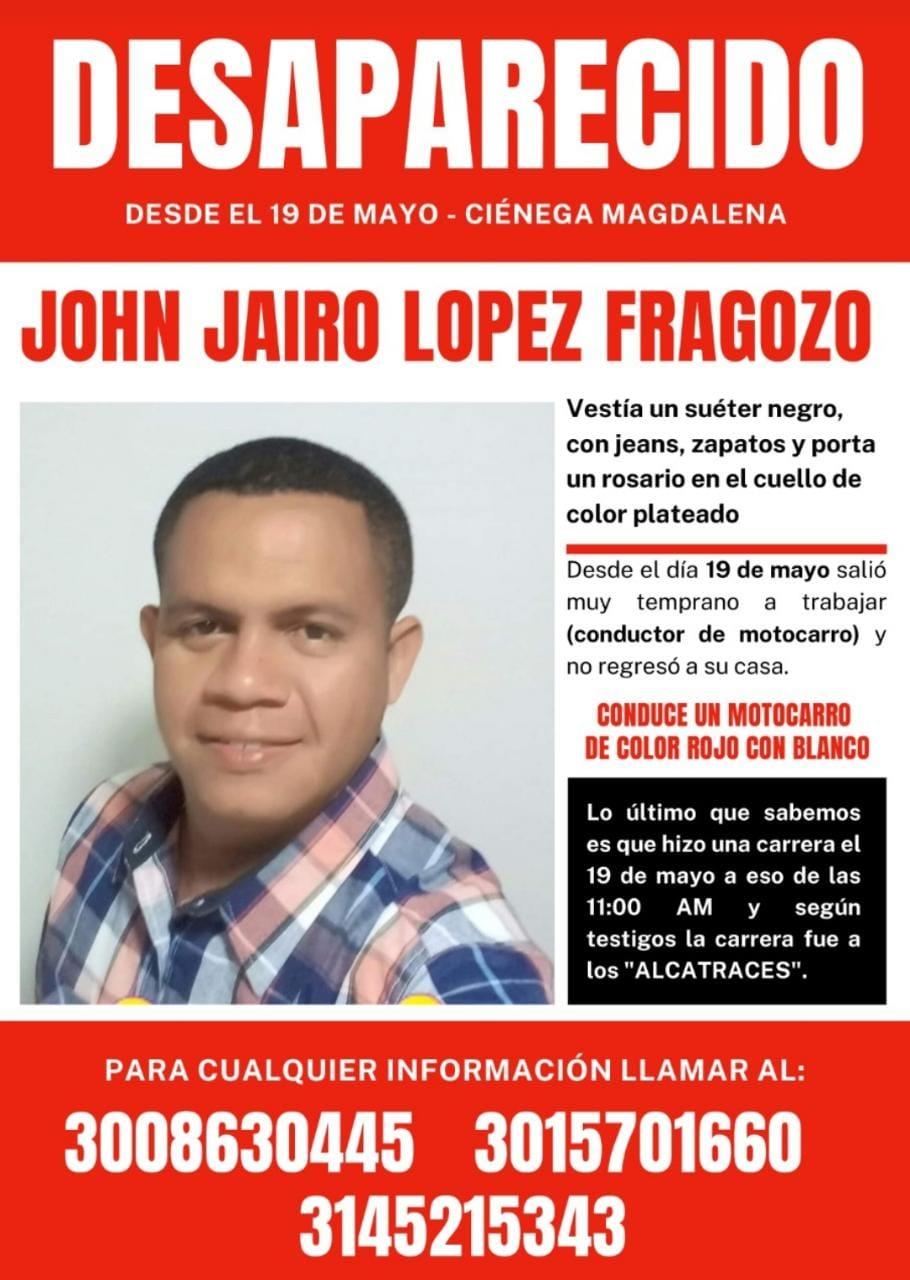Campaña de búsqueda de John Jairo López Fragozo.