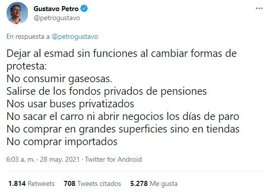 El tuit de Gustavo Petro.