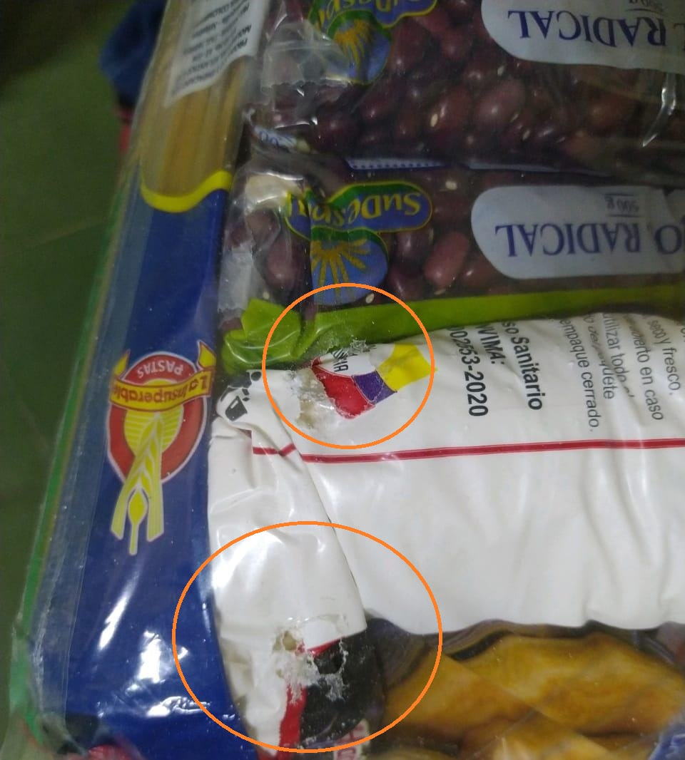 Evidencia de roedores que intentan acceder a los alimentos en los colegios.