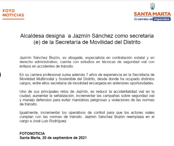 Comunicado publicado por la Alcaldía de Santa Marta.