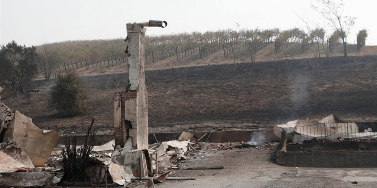 Vista general de los restos de un edificio quemado en la lechería Clover Stornetta, en Sonoma, California (EE.UU.).