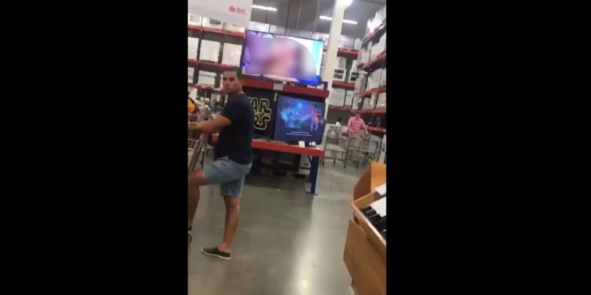 Imagen del video que se ha viralizado en un Pricesmart de algún lugar en Latinoamérica.
