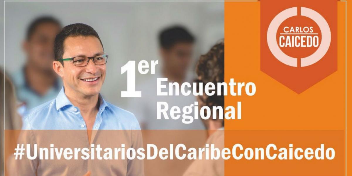Primer encuentro universitario de Carlos Caicedo con estudiantes del Caribe.