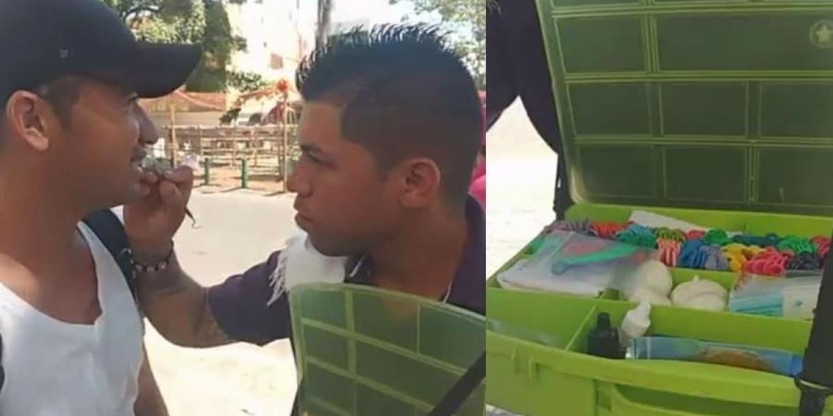 Odontólogo venezolano en calles de Barranquilla.