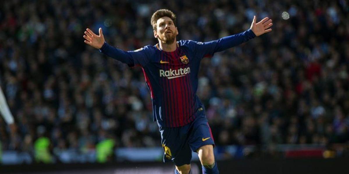 Messi celebrando su gol.