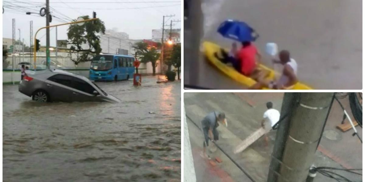 Mientras llueve en Santa Marta, la gente aprovecha para 'rebuscársela' como pueda.