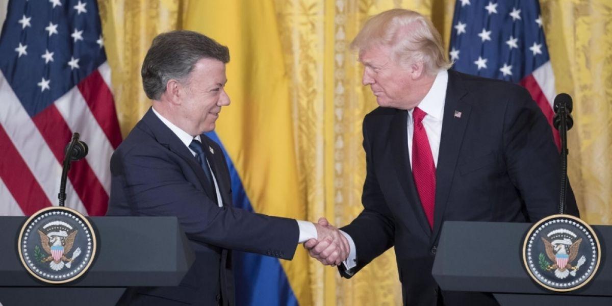 Juan Manuel Santos durante su visita al nuevo presidente de los Estados Unidos, Donald Trump.