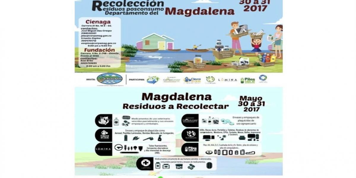 Esta es la tercera jornada de recolección de residuos posconsumo  liderada por Corpamag.