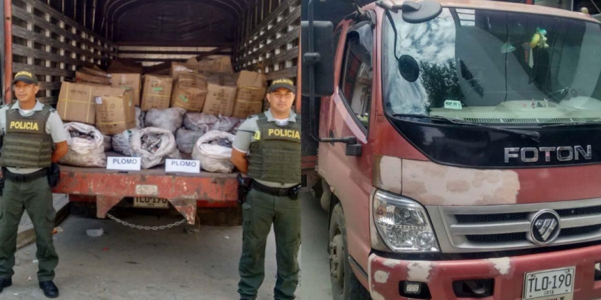Vehículo en que era transportado el cargamento.
