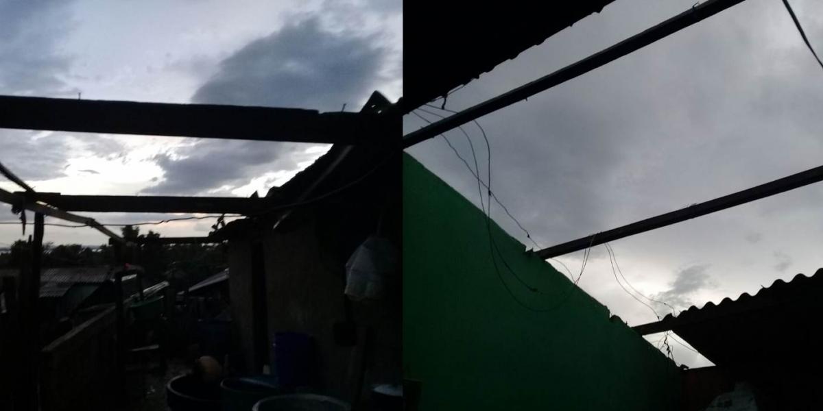 Casas destechadas y árboles caídos en el corregimiento de Bomba Pedraza, Magdalena.