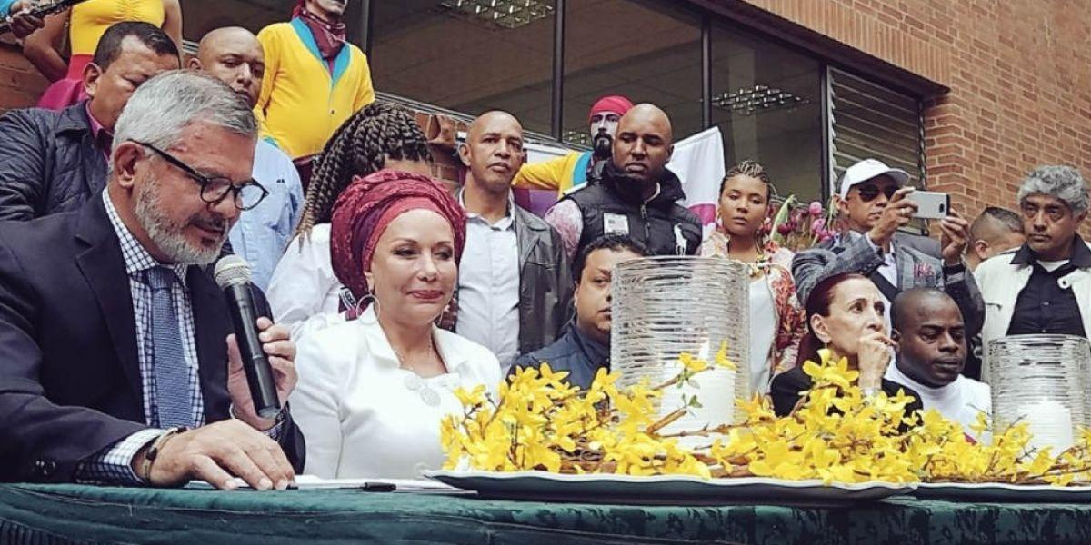 Piedad Córdoba durante su lanzamiento de su candidatura.