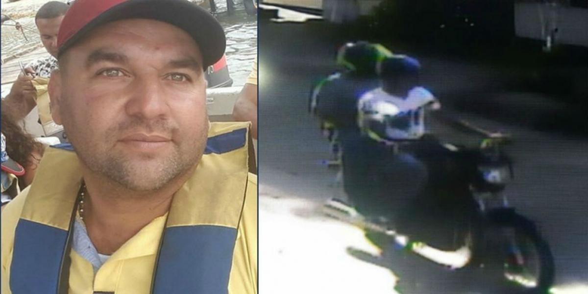 Hugo Samuel Gómez, hombre asesinado por robarle el celular. En la moto, los asesinos.