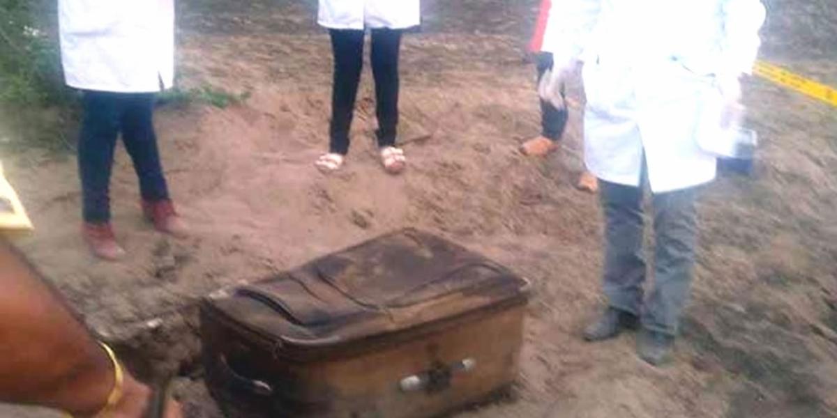 Maleta donde se encontraba el cuerpo de la mujer.